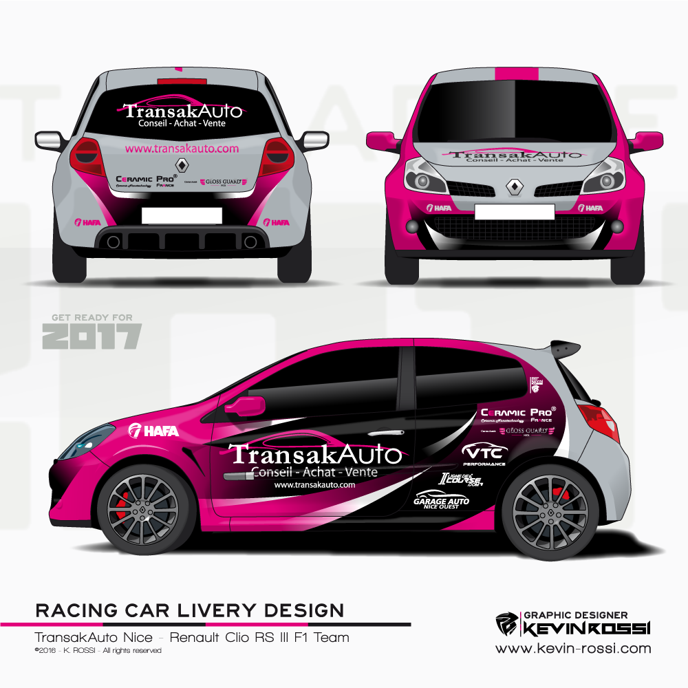 Car Livery Design For TransakAuto Nice   On Renault Clio RS III F1 Team. ©