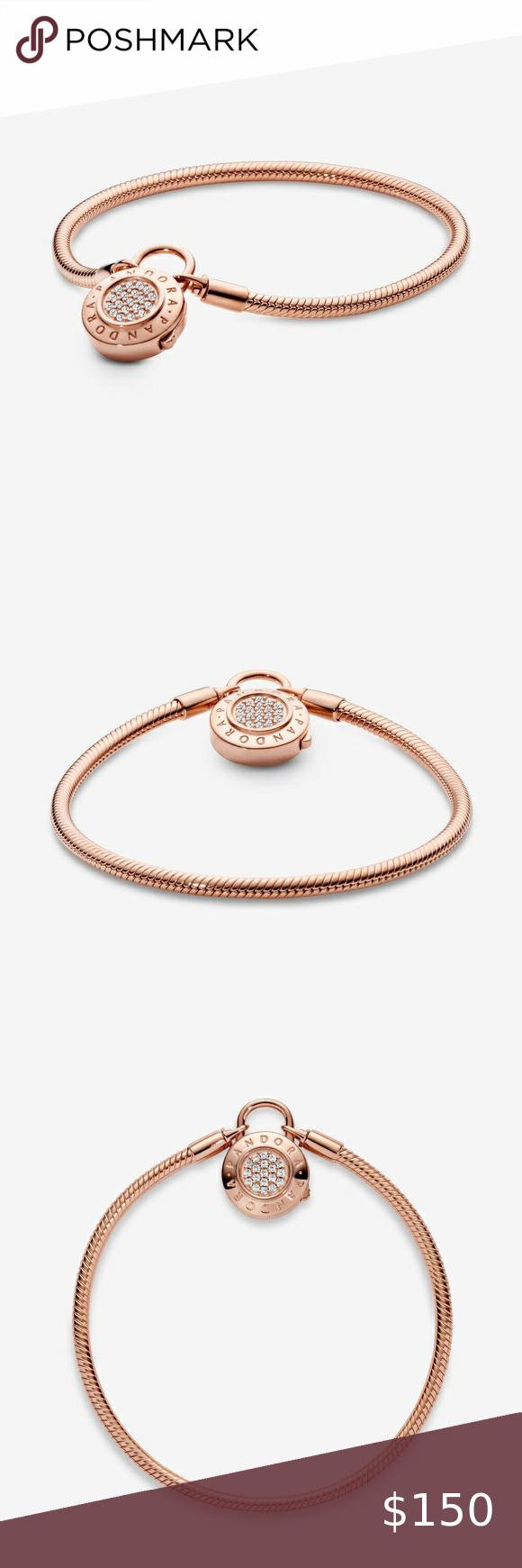 Pandora Pavé Padlock Clasp Snake Chain Bracelet | Pandora jewelry ...