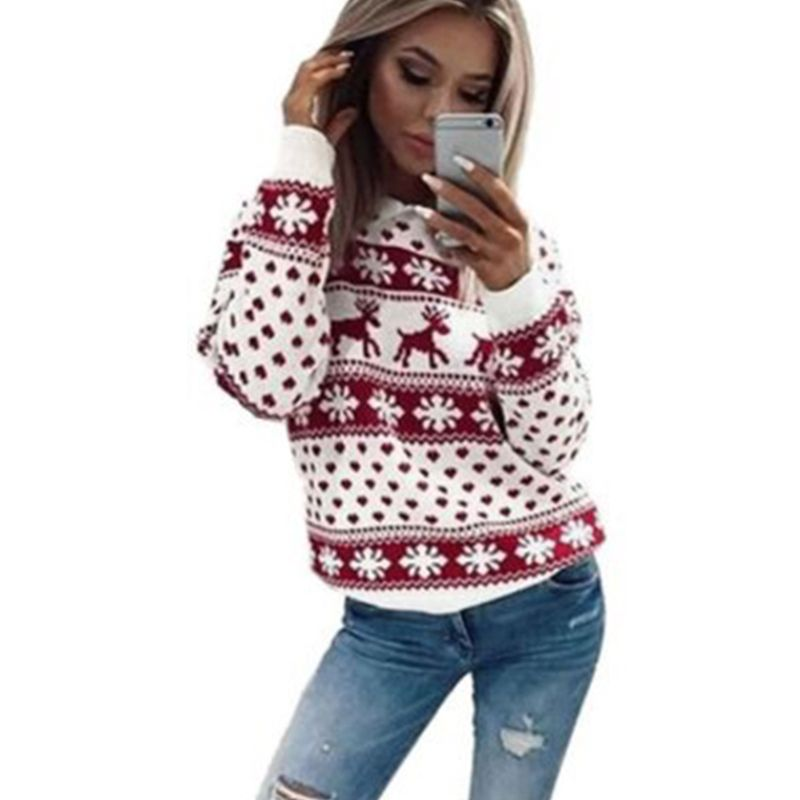 New Chic Women Christmas Snowflake Reindeer Jumper Oversized Knit Sweater Top | savingfashioncost.com