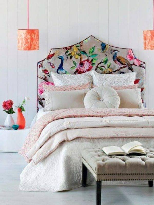 bett muster kopfteil modern gepolstert hängelampen orange - schlafzimmer ideen orange