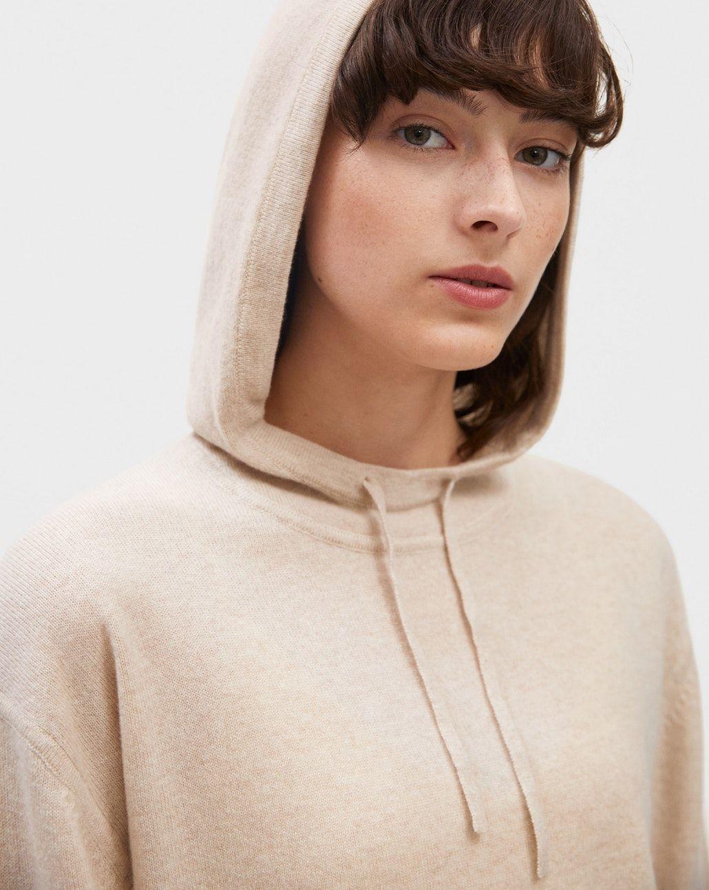 Cashmere Hood Sweater Mousse Melange New Arrivals Soft