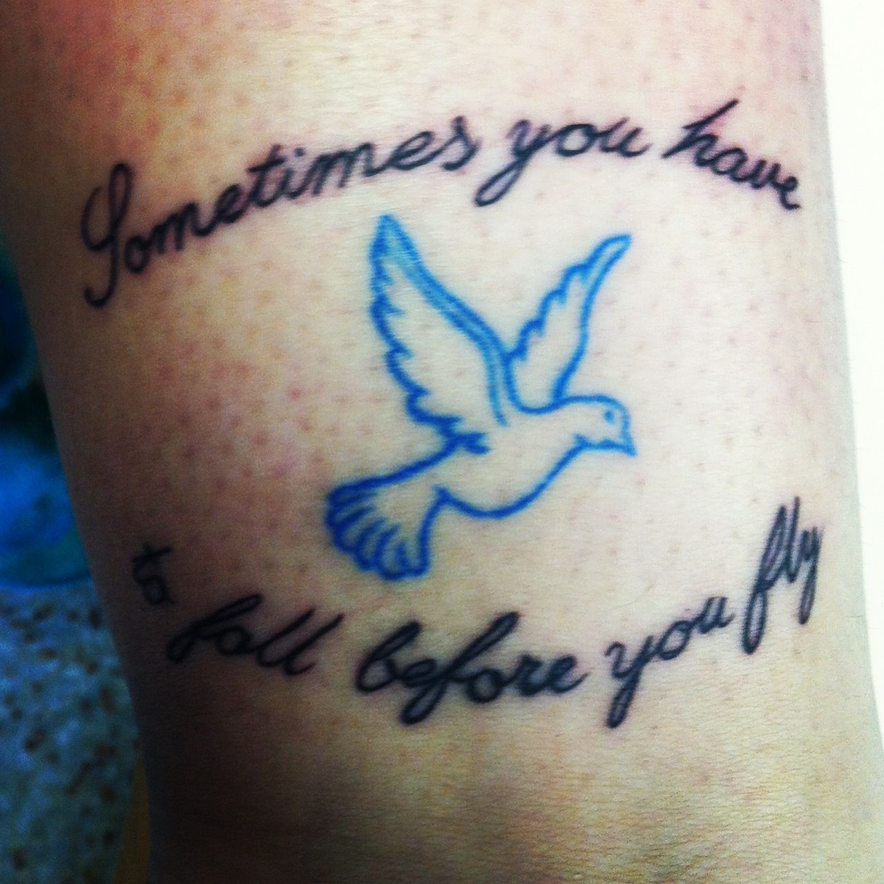 """Tattoo Needle Quotes: """"Sometimes You Have To Fall Before You Fly"""" Dove And Quote"""
