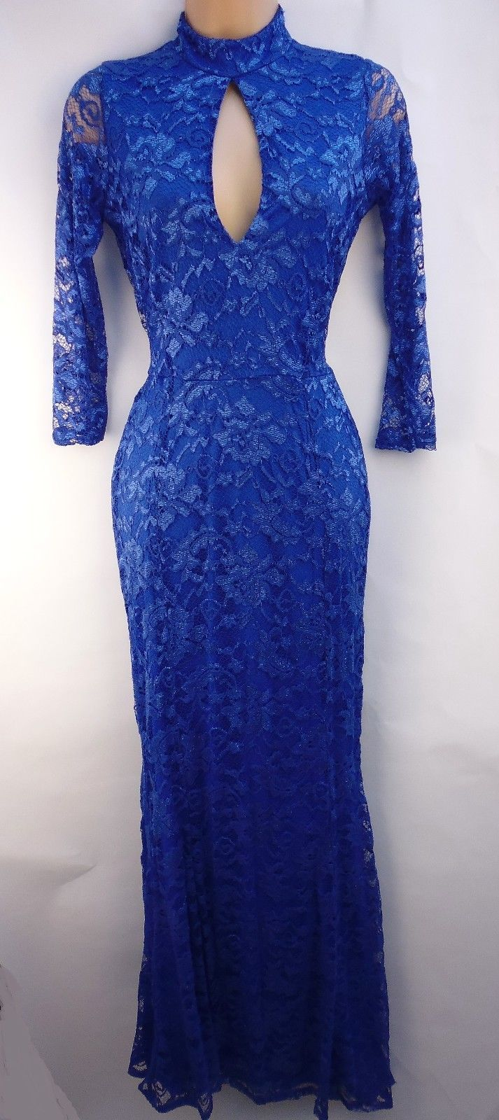 Quiz blue lace sleeves fishtail maxi evening party dress