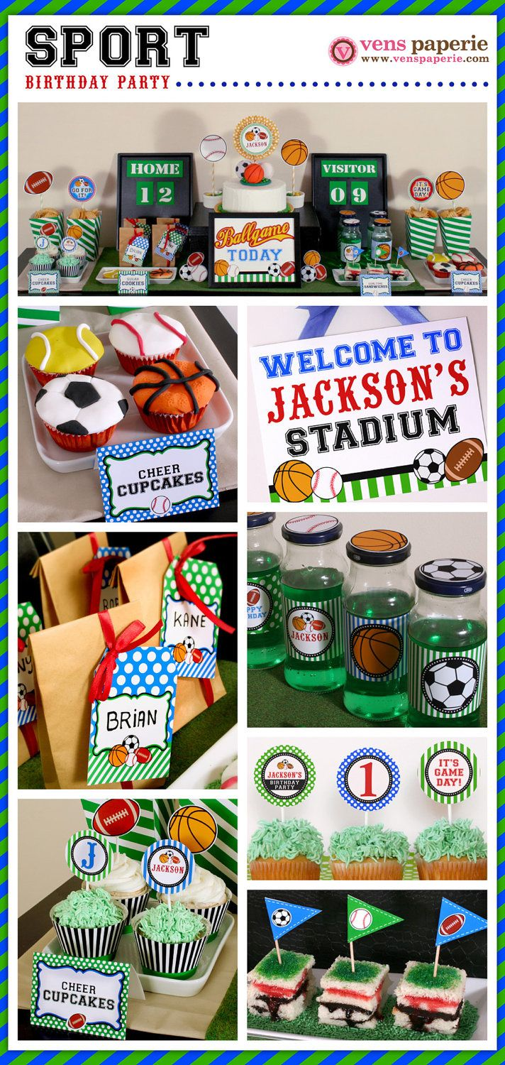 Sport Birthday Party Package Personalized FULL Collection