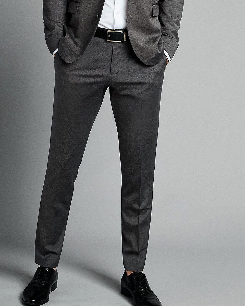 Extra Slim Charcoal Gray Wool Blend Oxford Suit Pant Grey Pants Men Charcoal Gray Suit Suit Pant [ 1200 x 960 Pixel ]