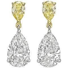 Pear-Shaped White and Yellow Diamond GIA Cert Drop Earrings