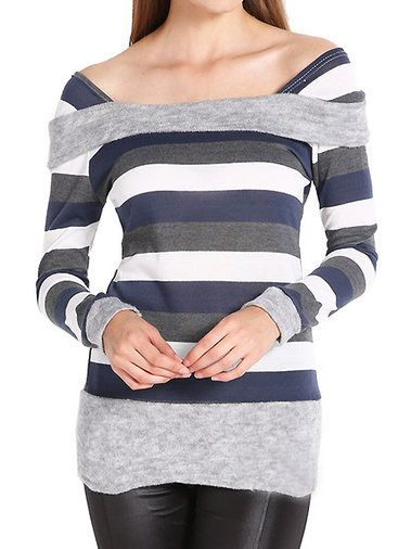 Beautiful Striped Contrast Color Plus Size Slim Tie Waist Leisure T-Shirt on buytrends.com