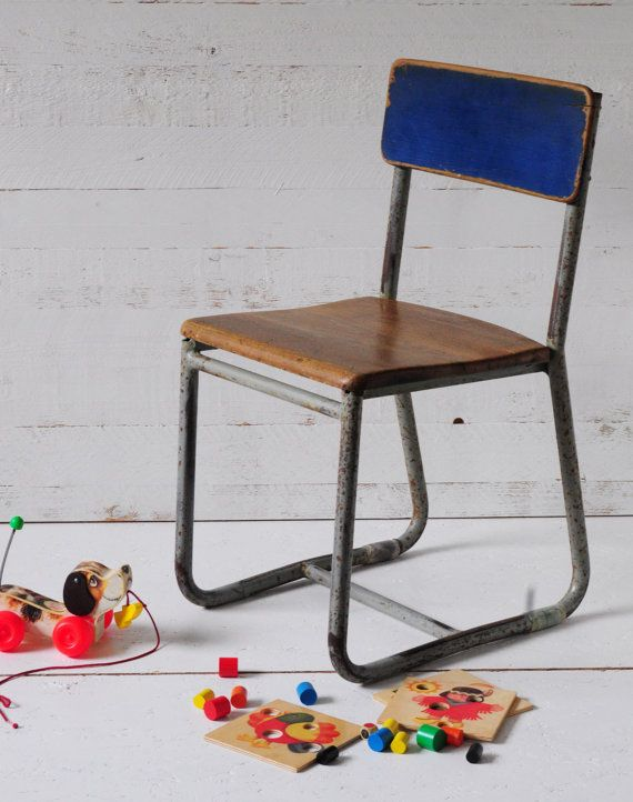 childrens chair industrial vintage by indru on Etsy, $85.00