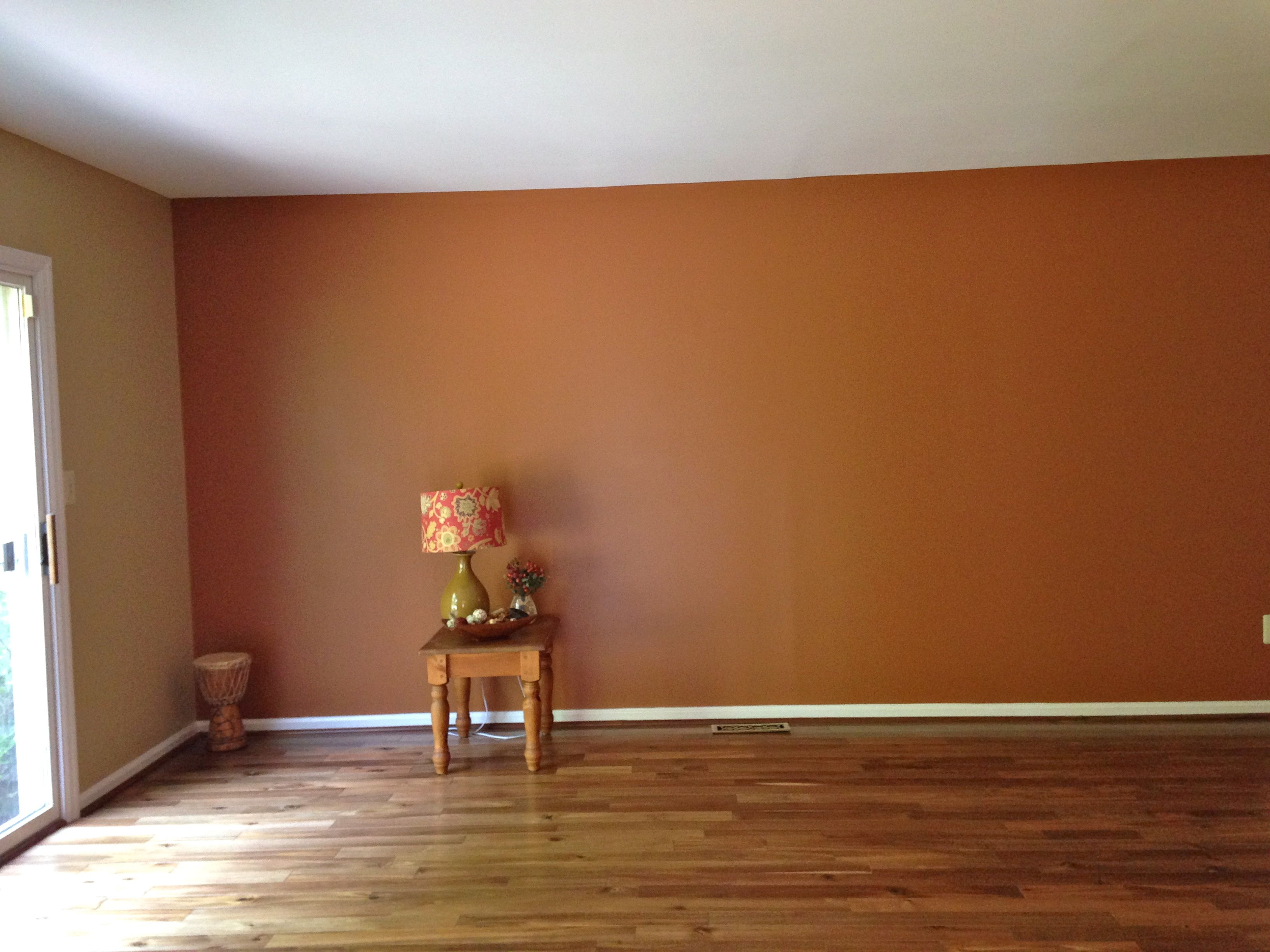 Bedroom paint ideas accent wall orange - Family Room Sherwin Williams Accent Wall Brandywine Opposite Walls Bittersweet Stem