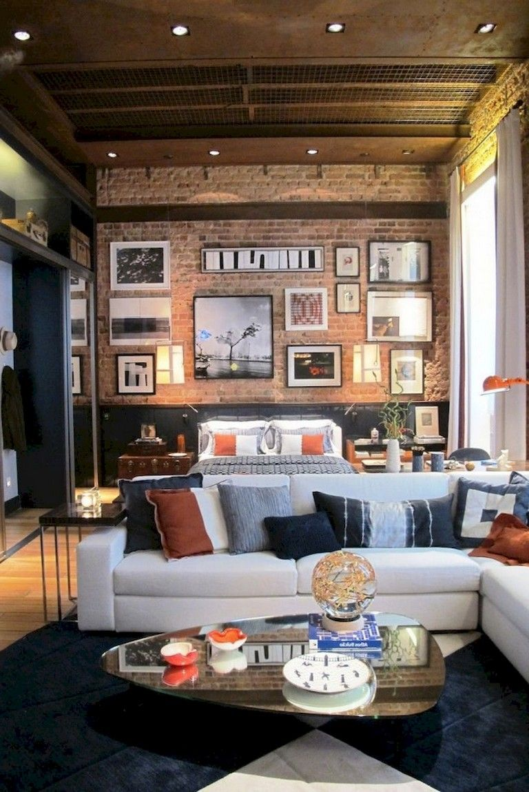 Home-office-design-ideen  amazing living room with brick wall decoration ideas  living