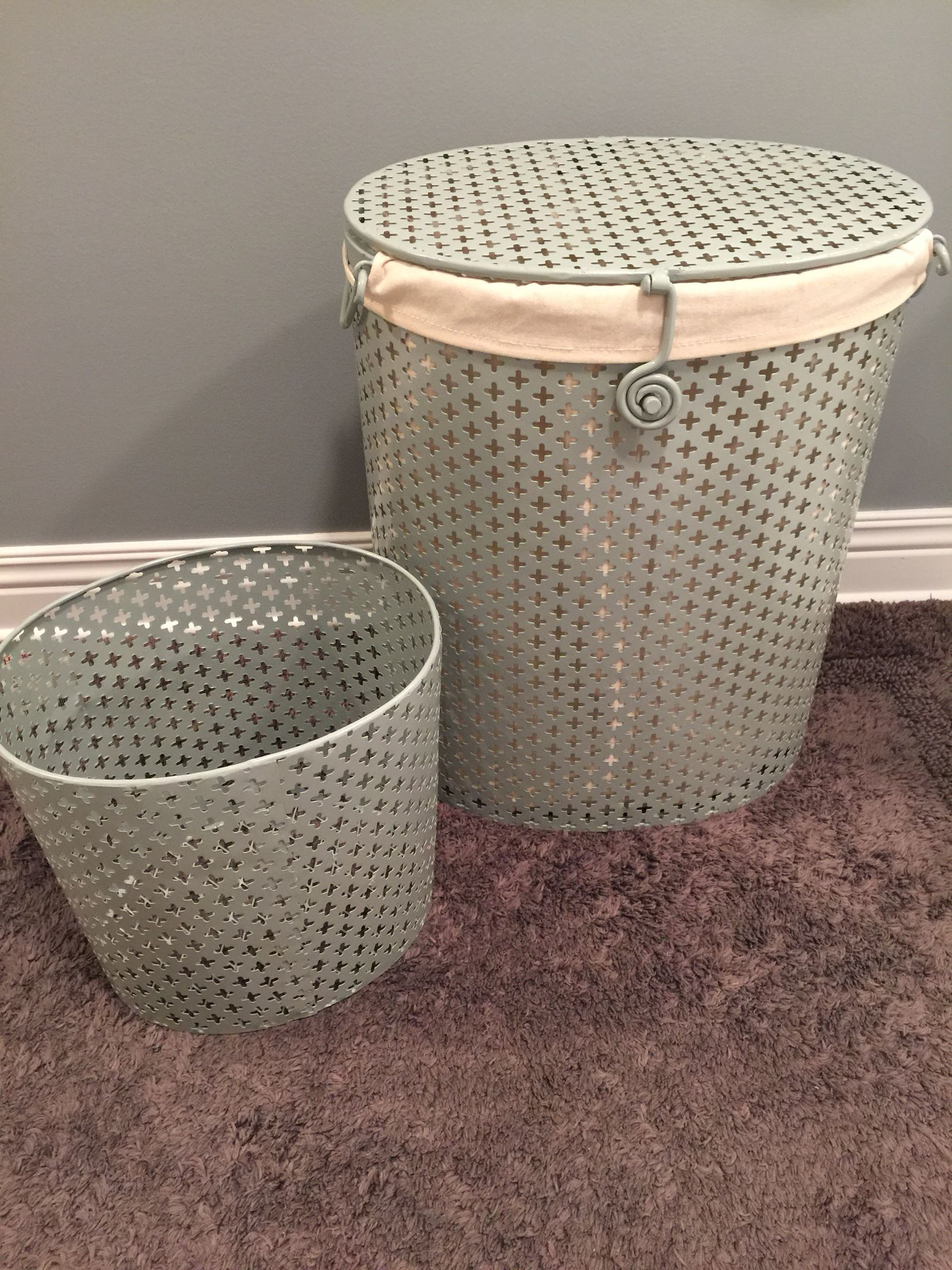 Storage boxes and wicker hamper on wheels | TJ MAX/Home Goods ...