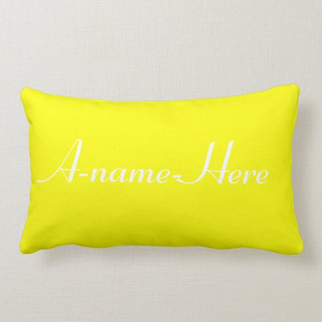 Personalized yellow solid with white name custom lumbar pillow #sandy #closs #stylish #surname #decorative #lumbarpillow #pillow #pillows #cushion #cushions #family #personalised #personalized #personalise