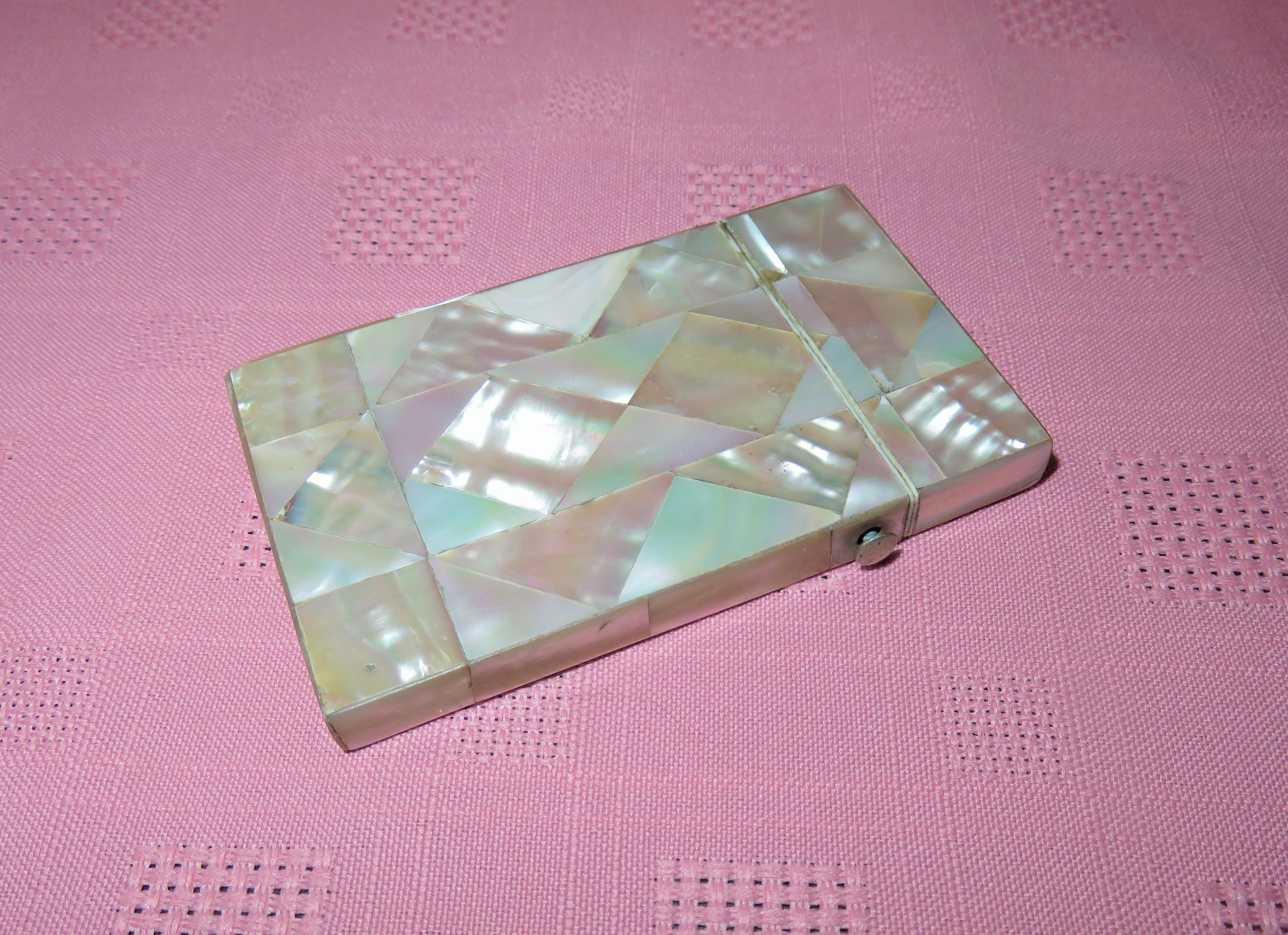 Antique 19th Century Victorian Mother Of Pearl Calling Card Case Mother Of Pearl Business Card Holder M O P Inlay Visiting Card Case Business Card Holders Calling Cards Antiques