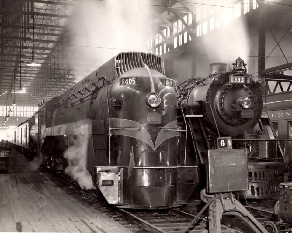 Grand Trunk Western Passenger Trains, With Streamlined And Standard Steam  Power, In What Is Presumed To Be Chicago, ILu0027s Dearborn Street Station In  The.  What Is Presumed