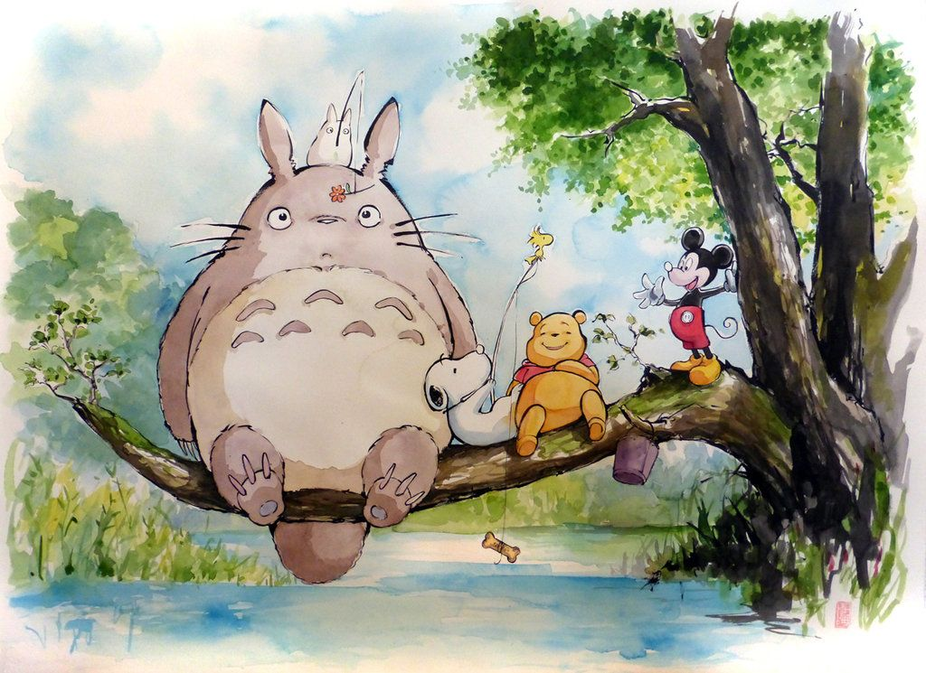Totoro Hangs With Mickey Mouse Snoopy Pooh And More