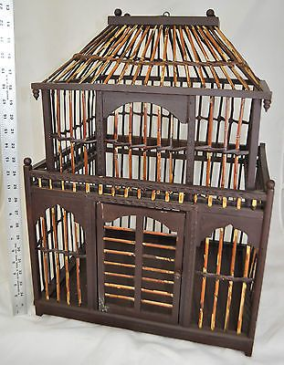 "Vintage Large Bird Cage~Bamboo & Wood~22""x17""x14""~Door opens~Hand Crafted"