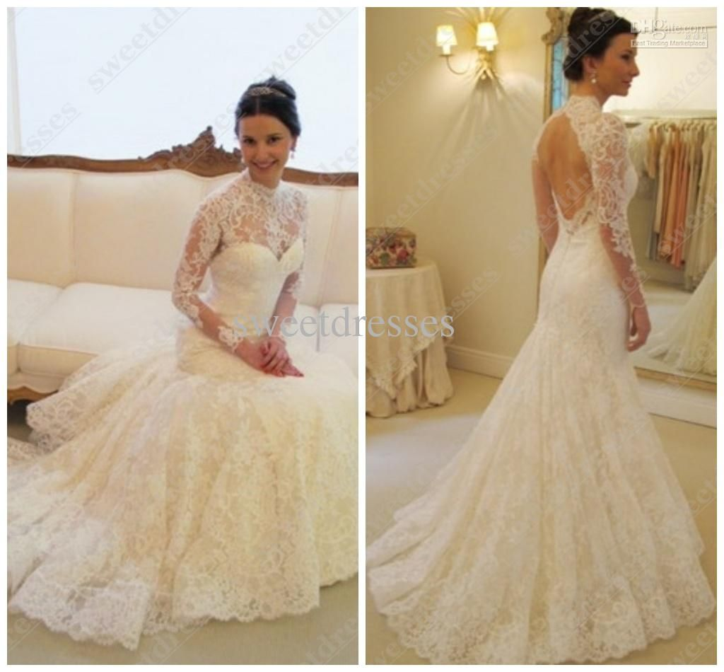 2016 Cheap Backless Mermaid Wedding Dresses High Neck Long Sleeves Lace Bridal Gown Long Sweep Train Church Wedding Gown New Arrival Za01 From Sweetdresses 12 Backless Mermaid Wedding Dresses Long Sleeve [ 950 x 1024 Pixel ]