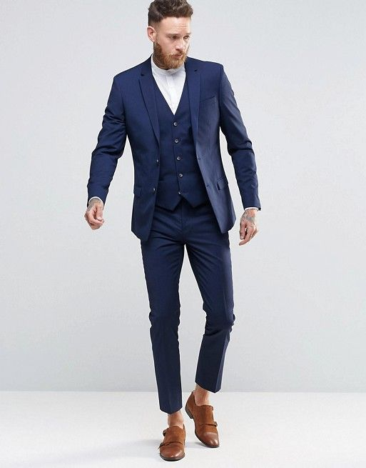 0ab4e7b0cf9bd8 River Island Skinny Fit Suit In Navy Blue | Casual in 2019 | Summer ...
