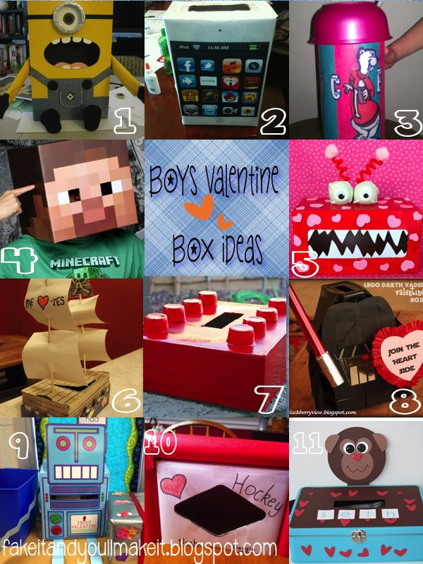 Fake It And You Ll Make It Boys Valentines Boxes Valentines For Boys Minecraft Valentines