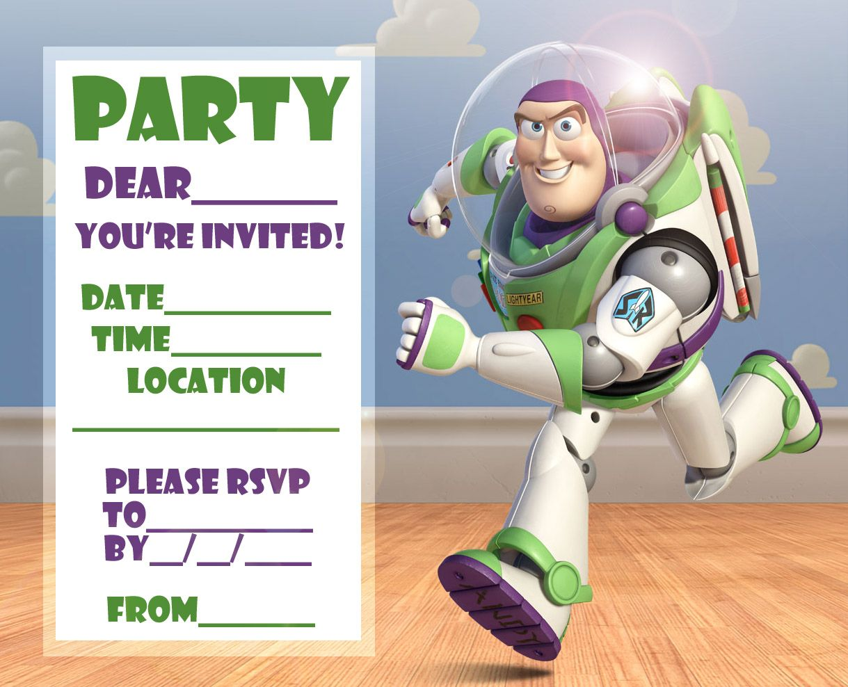 FREE Toy Story Woody and Buzz Lightyear Party Invitation Printable ...