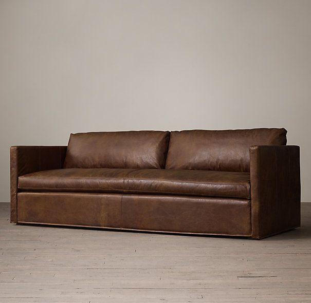 Belgian Classic Shelter Arm Leather Sofa
