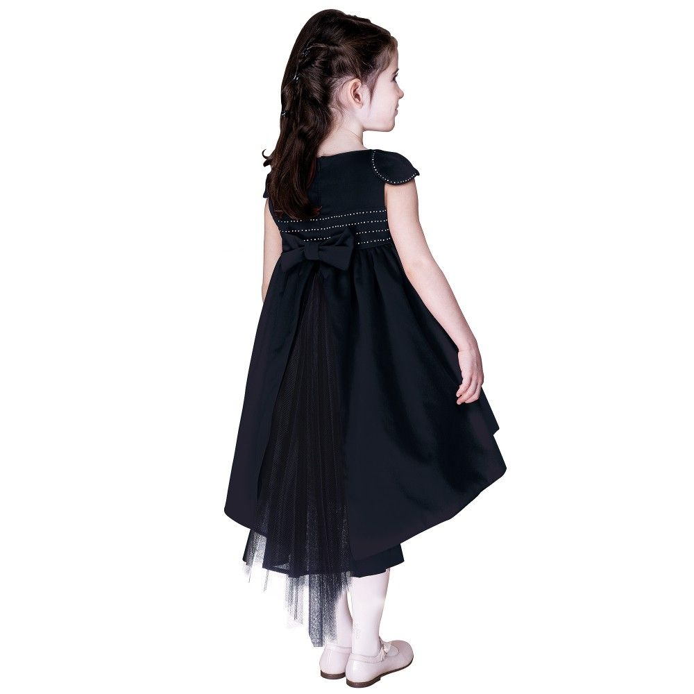 ff6190a0c466 Tartine et Chocolat - Girls Navy Blue Velvet Dress