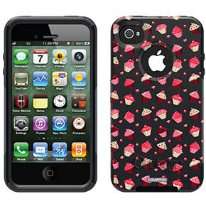 Yummy Cupcakes White Fashion Prints design on OtterBox® Commuter Series® Case for iPhone 4 / 4S in Black