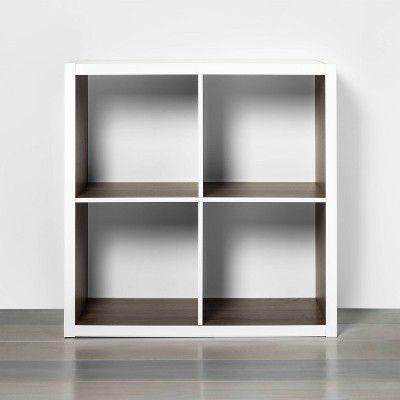 4 Cube Storage Organizer White With Wood Accents Threshold In 2020 Cube Storage Wood Accents Small Space Storage
