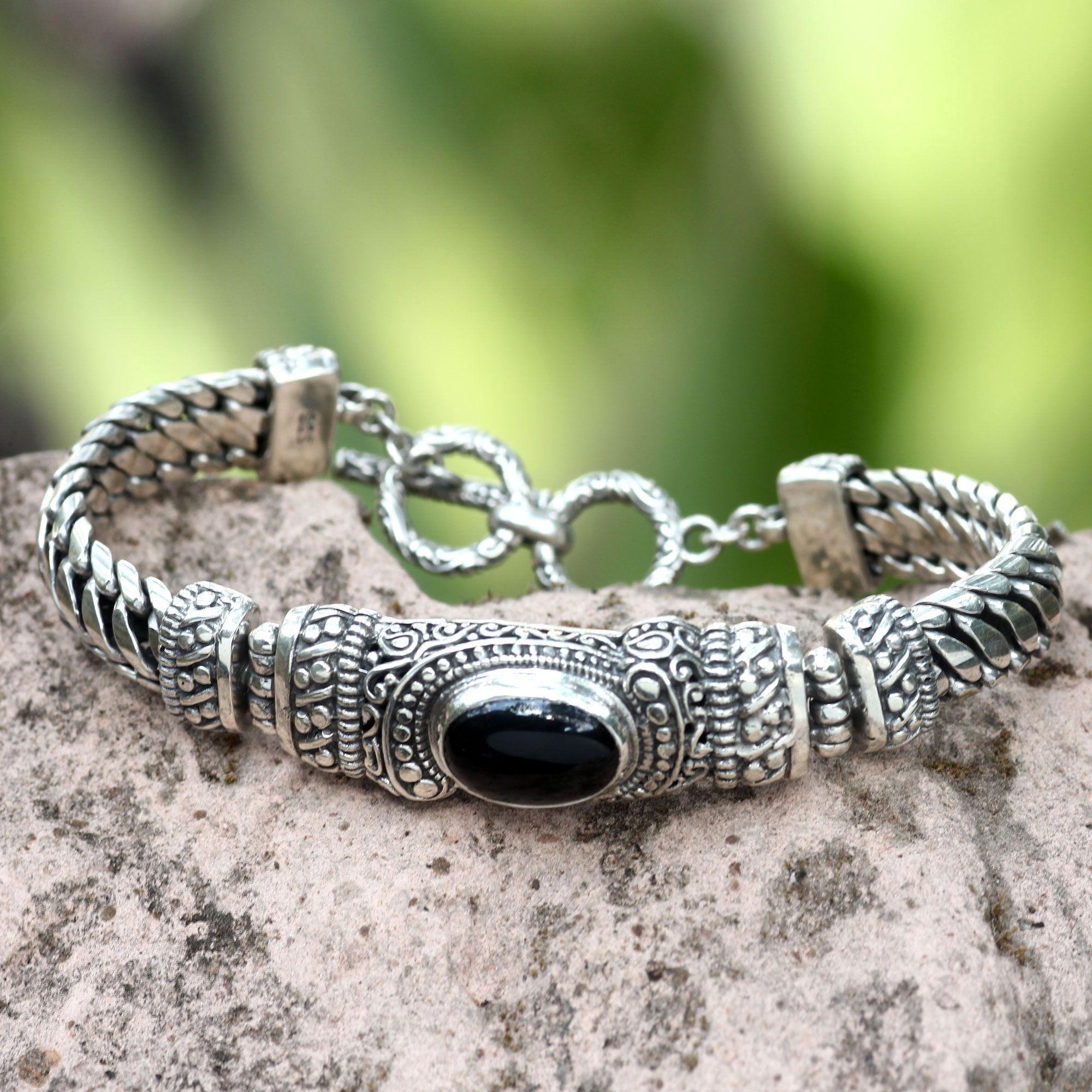Men\'s Handmade Sterling Silver and Onyx Bracelet, \'Royal Bali ...