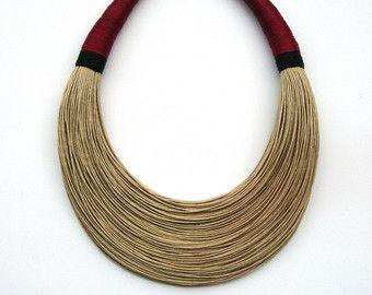 Statement Fiber Necklace Minimalist Jewelry by superlittlecute
