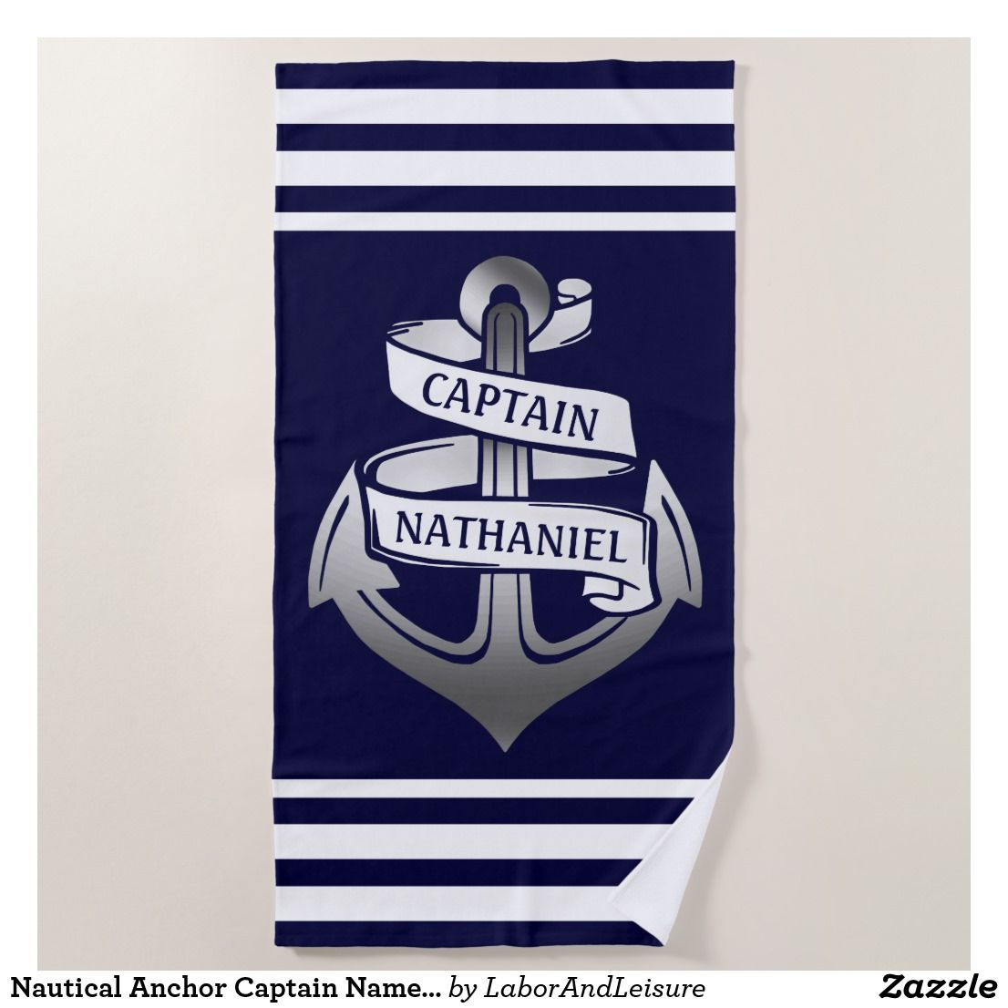 Nautical Anchor Captain Name Navy White Stripe Beach Towel