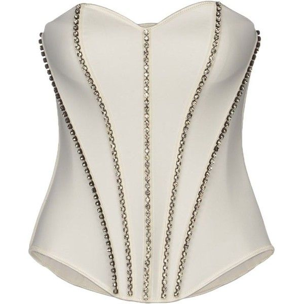 'OH MY CORSET!' Tube top (410 BRL) ❤ liked on Polyvore featuring tops, corsets, shirts, blusas, white, corset tops, corset shirt, sleeveless shirts, white corset top and zipper shirt