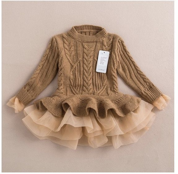 Pi Baby | Cable Knit Peplum Dress Camel Gold
