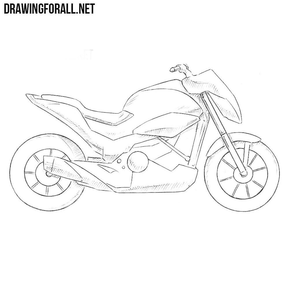 How To Draw A Motorcycle Step By Step With Images Motorcycle