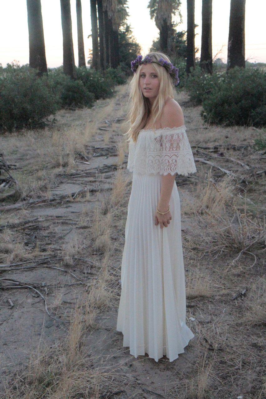 Vintage Wedding Gown Dress Bohemian Lace Off The Shoulder Cream ...