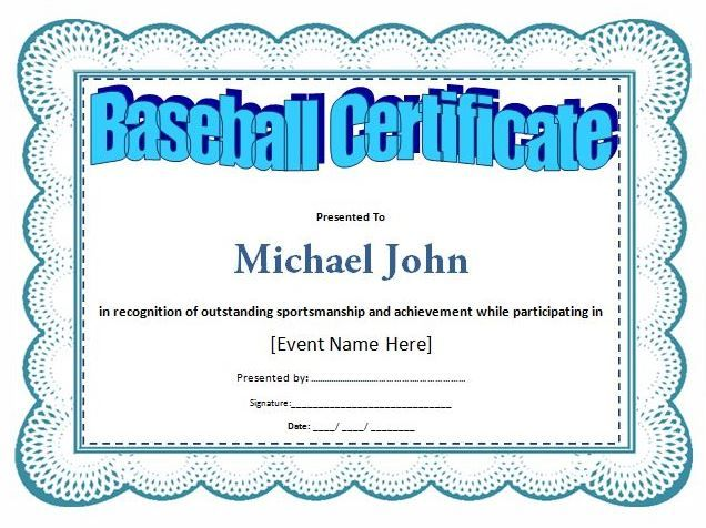 Baseball Award Certificate Template at wordtemplatesbundle - certificate templates word