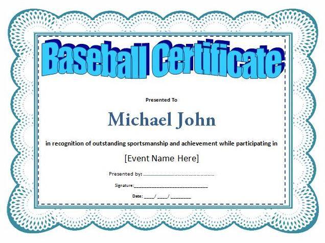 Baseball Award Certificate Template at wordtemplatesbundle