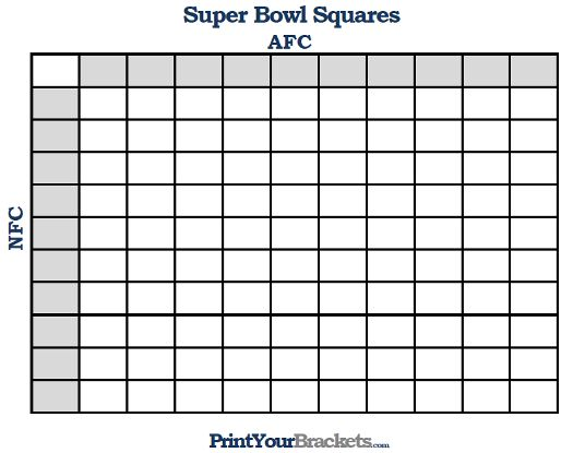 Printable Super Bowl Squares  Super Bowl Party Games