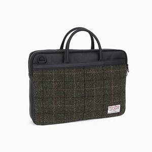 Sweetch briefcase L khaki x Harris tweed