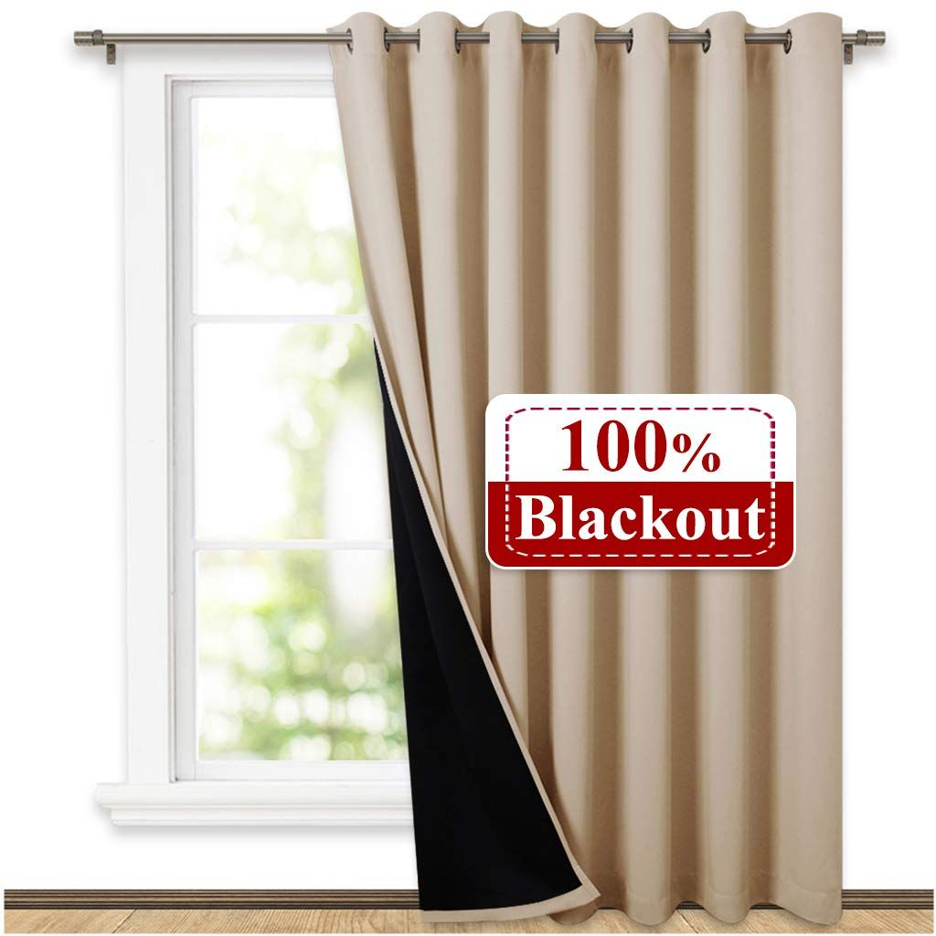 Nicetown Extra Wide Patio Door Curtain Energy Smart Noise Reducing Grommet Thermal Insulated Wide Width Drapes Patio Door Curtains Curtains Door Curtains