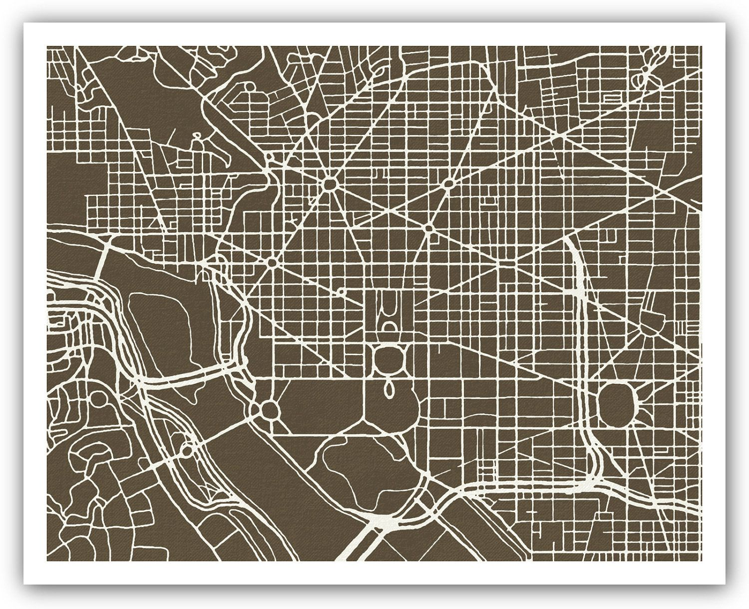 d c  grid map on etsy   maps   Pinterest   City maps d c  grid map on etsy