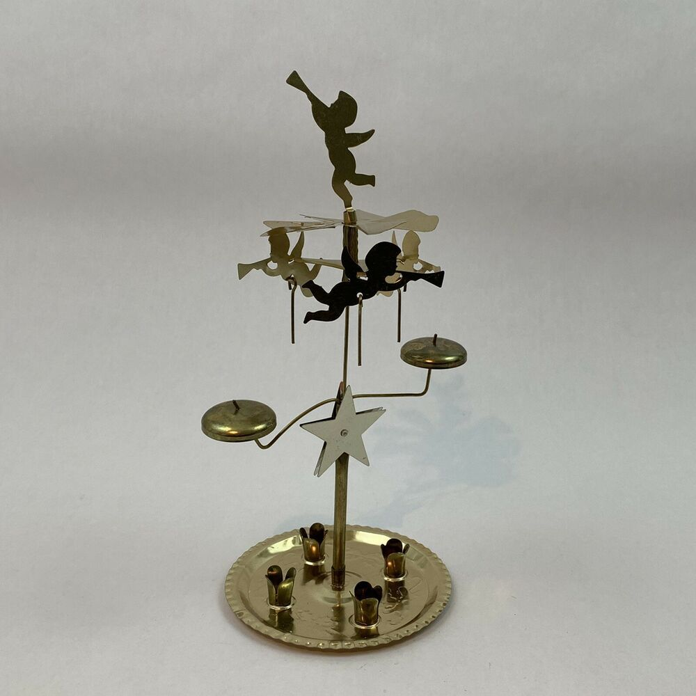 Vintage Candle Chimes Christmas Angel Brass in Box No