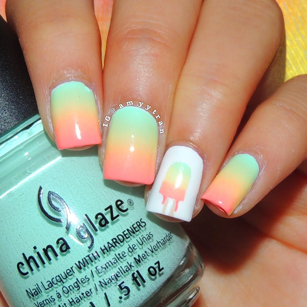 nail art tutorial: popsicle nails, i like this color combo | re