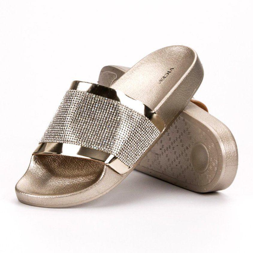 Klapki Z Cyrkoniami Vices Zolte Slip On Sandal Shoes Sandals