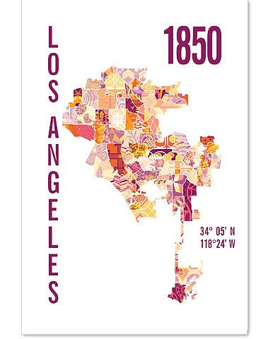 Los Angeles Neighborhood Map In Orange And Pink Jhill Design Map Print Map Prints