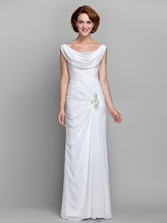 Sheath/Column Plus Sizes Mother of the Bride Dress - Ivory Floor-length Sleeveless Chiffon - USD $ 99.99