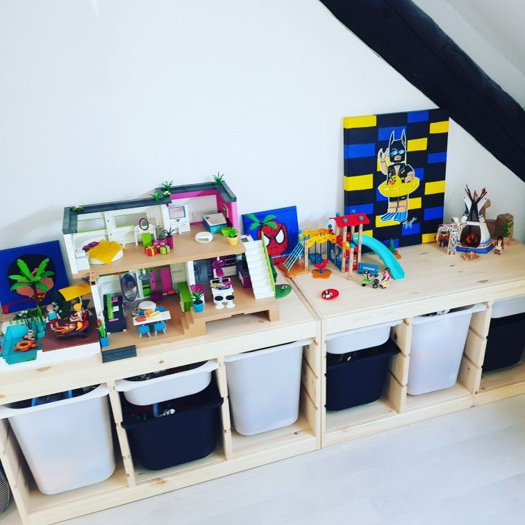 Rangements Playmobil   Rangement playmobil, Rangement salle de jeux, Meuble rangement enfant
