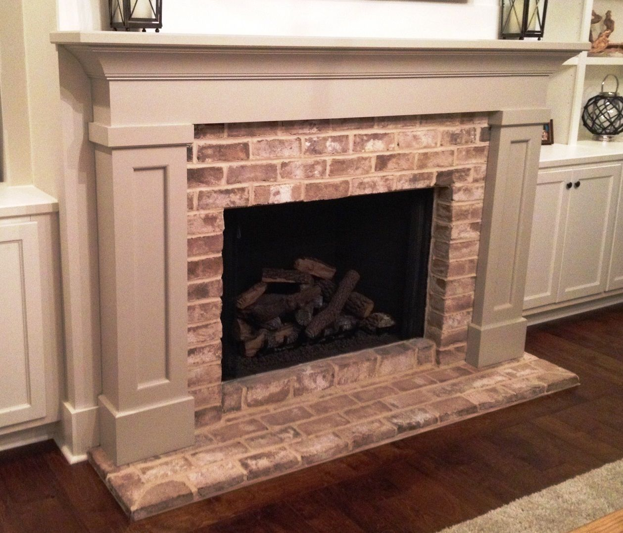 Traditional Mantel With Brick Face And Semi Flush Brick Hearth Fireplace Ideas Pinterest