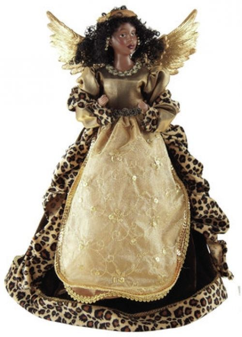ANGEL Tree Topper Leopard African American Black Christmas Decorations Holiday