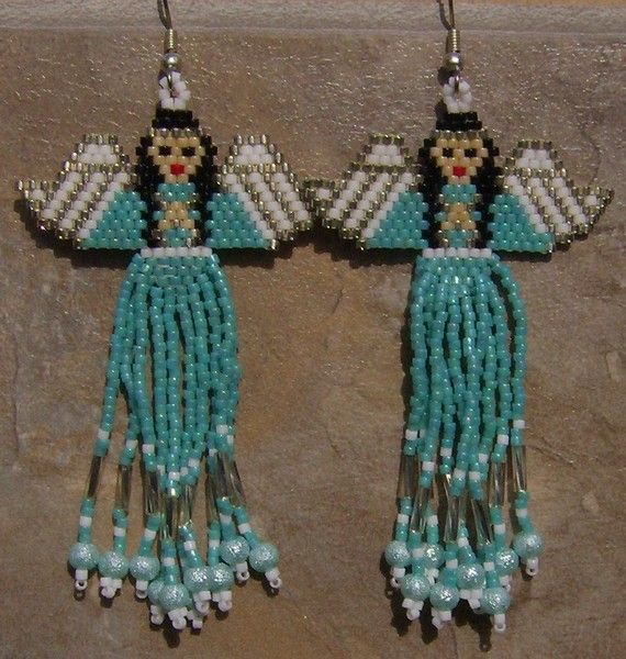 Native Amereican Inspired Angel Earrings Hand Made Seed